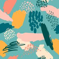 Resumo artístico padrão sem emenda com texturas desenhadas mão na moda vetor