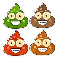 Conjunto de desenhos animados variações de cocô marrom. vetor
