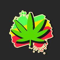 Logotipo de maconha médica com vetor de estilo aquarela de folha de maconha