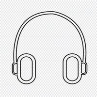 sinal de símbolo de ícone de fone de ouvido vetor