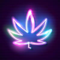 Sinal de néon de incandescência médico da folha do logotipo do cannabis.