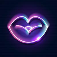 Sinal de lábios de néon retrô. Elemento de design para o dia dos namorados feliz s. Pronto para seu projeto, cartão, banner. Vetor