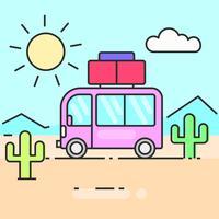 Ônibus viajar a ilustração do mundo para suas necessidades vetor