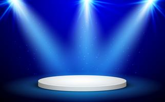 Pódio redondo azul do vencedor no fundo azul. Palco com luzes de estúdio para cerimônia de premiação. Holofotes iluminam. Ilustração vetorial