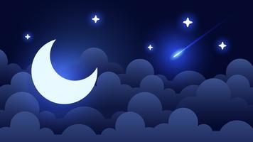 Fundo místico do céu noturno com meia lua, nuvens e estrelas. Noite de luar. Vetor