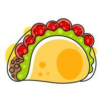 Ícone Mexicano Quente Retro. Comida rápida. De Fundo Vector. Ingredientes Orgânicos. Comida Mexicana Do Taco. Ilustração vetorial colorida. vetor