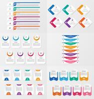 Conjunto de modelo de elemento de infográficos com opções.