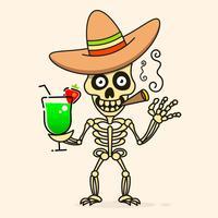 Crânio No Chapéu Mexicano Do Sombrero. Vetor