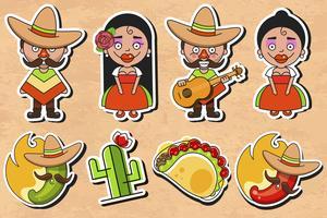 Vetor de etiqueta de cultura mexicana no fundo Vintage