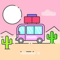 Ônibus viajar a ilustração do mundo para suas necessidades