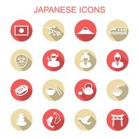 ícones de sombra longa japonesas vetor