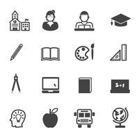 ícones de educação e escola vetor