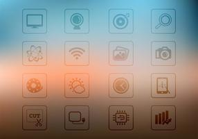 Transparent Square Icons on Blurred Background Vector Set