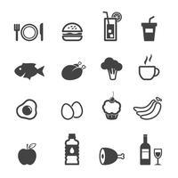 ícones de comida e bebida vetor