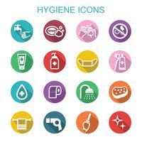 ícones de longa sombra de higiene vetor