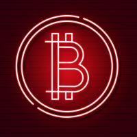 Símbolo de néon de Bitcoin no efeito preto de Background.light. Dinheiro de Digitas, conceito da tecnologia de mineração. Ícone do vetor.