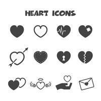 símbolo de ícones do coração vetor
