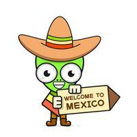 Ilustração mexicana do vetor do crânio dos desenhos animados para Diâmetro De Los Muertos. Crânio Masculino Bonito