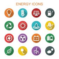 ícones de sombra longa de energia