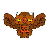 Coruja ou coruja pássaro desenho vetorial ícone isolado. A floresta selvagem emplumou o pássaro de noite da rapina. Fauna e Zoologia Selvagem