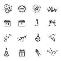feliz ano novo ícones vetor