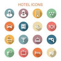 ícones de longa sombra de hotel