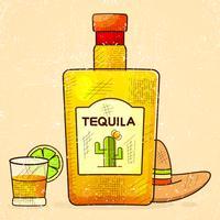 Fundo Mexicano Com Uma Garrafa Extravagante De Tequila. Fantasia Tequila nome adicionado. Modelo Para Cartão De Saudação, Convite Ou Poster. Vetor