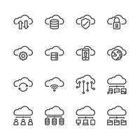 Conjunto de ícones de tecnologia de nuvem. Ilustração vetorial