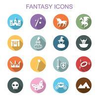 ícones de longa sombra de fantasia vetor