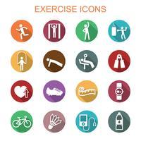 ícones de sombra longa de exercício