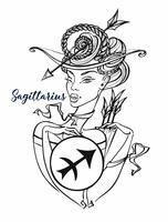Sagitário do sinal do zodíaco uma menina bonita. Horóscopo. Astrologia. Coloração. Vetor.