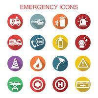 ícones de sombra longa de emergência vetor