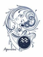 Aquarius do sinal do zodíaco uma menina bonita. Horóscopo. Astrologia. Vetor.