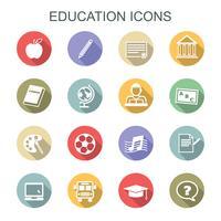 ícones de longa sombra de educação vetor