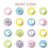 ícones de sombra longa de coração vetor