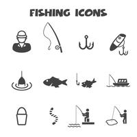 símbolo de ícones de pesca vetor