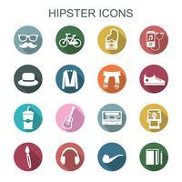 ícones de sombra longa hipster vetor