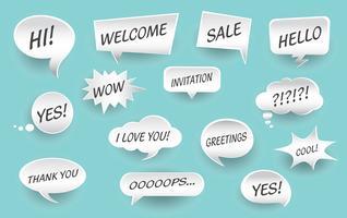 Elementos de design para o discurso, mensagem, rede social. Ilustração vetorial e elementos gráficos. vetor