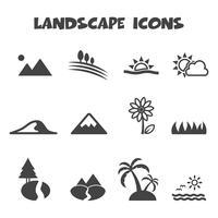 símbolo de ícones da paisagem vetor