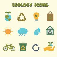 símbolo de ícones de cor de ecologia vetor