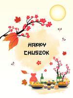 Projeto da bandeira de Chuseok árvore de esquilo no fundo da opinião da Lua cheia.