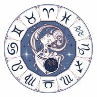 Aquarius do sinal do zodíaco uma menina bonita. Horóscopo. Astrologia. Vetor