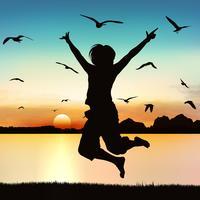 Menina feliz que salta, na arte da silhueta. vetor