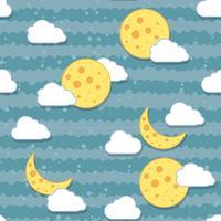 Lua sem emenda no padrão de noite. vetor