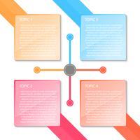 Infográfico de transparência colorido quatro rótulos.