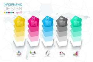 Opções de etapa de negócios e infográficos abstratos número modelo de opções.