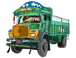 Arte de vetor de caminhão indiano