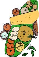 Ilustração vetorial de comida do Sul da Índia