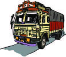 Ilustração em vetor caminhão indiano