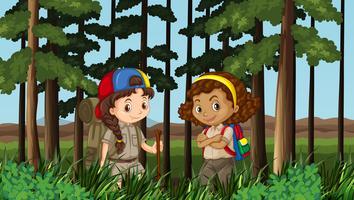 Duas meninas, hiking, em, a, selva vetor